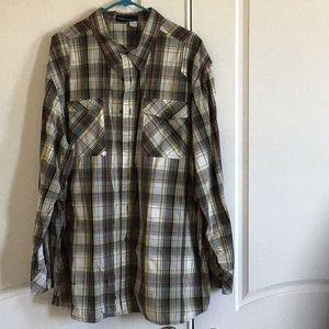 RocaWear Plaid Button down long sleeve shirt sz3XL